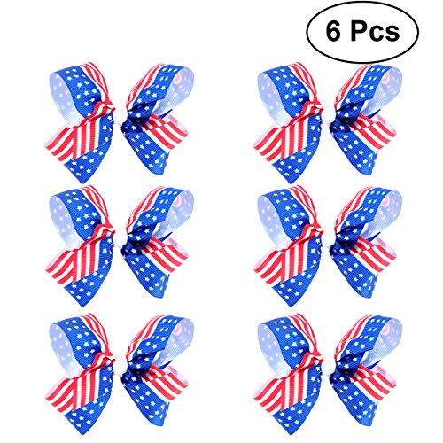 Amerikas Schätzen Nationalen (BESTOYARD Amerika Flagge Haarspange Kinder Baby Mädchen Bowknot Haarnadeln für Unabhängigkeitstag 4. Juli Nationalen Tag 6 STÜCKE)