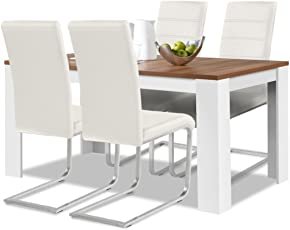 Agionda® Esstisch + Stuhlset : 1 X Esstisch Toledo Nussbaum Weiss 140 X 90 +