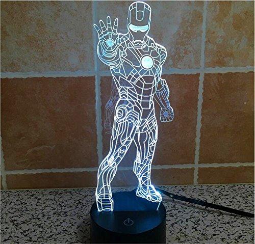 SmartEra® 3D Optical Illusion Iron Man Standing Postura Pannello di modello di illuminazione notturna 7 cambiamento di colore pulsante tattile USB scrittorio LED lampada da tavolo luce