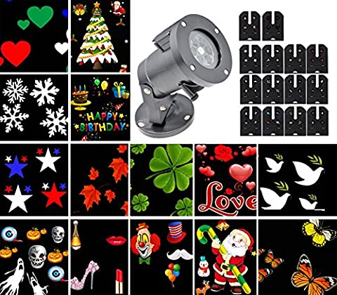 Christmas LED Projector Light,Halloween Landscape Lights Waterproof with 14 Replaceable Slides,Decorative Light Rotating Landscape Spotlight Perfect for Children Birthday Gift, Christmas Halloween Holiday Wedding Party Carnival