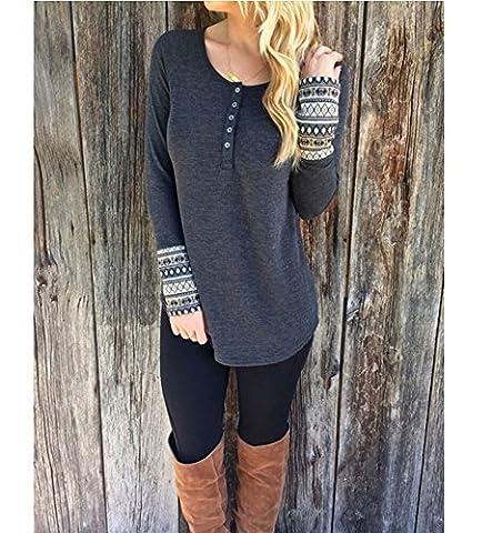 Distinct® Shirts Antumn hiver col rond manches longues Femmes Knit Top Blouse (M)