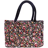 QZUnique Womens Durable Colourfast Waterproof Flower Printing Large Capacity Tote Bag Handbag Diaper Bag Lunch Bag With Inner And Outer Zipper Pockets
