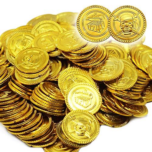 180 Piraten Gold-Münzen Für Kinder - 20x19x 3.5 cm Kunststoff Coins Juwelen Spiele Set Gast-geschenke Pinata Schatz-suche Kindergeburtstag Partydeko Abspielen Geld Münze Goldtaler Spielzeug Grabung