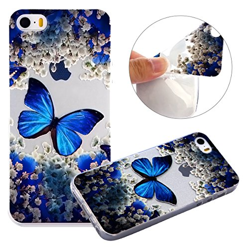 Per iPhone 5S / SE Apple, Cover Bumper iPhone 5S Silicone, Custodia iPhone 5SE Trasparente, Surakey Lace Fiore Mandala Gatto Design Creativo Morbida Shell Gel Gomma TPU Case Liscio Leggero Protettivo  Farfalla Blu