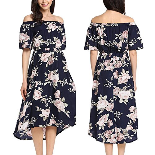 Meaneor Women Casual Slash Neck Off Shoulder Short Sleeve Prints A-Line Pleated Hem Dress