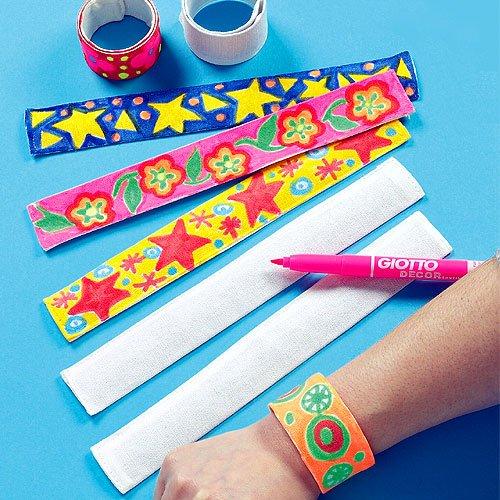 Bastelset - Schnapparmbänder aus Stoff für Kinder zum Bemalen - toll für den Kindergeburtstag - 5 Stück