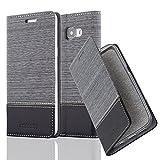 Cadorabo Hülle für Samsung Galaxy A5 2016 (6) - Hülle in GRAU SCHWARZ – Handyhülle mit Standfunktion und Kartenfach im Stoff Design - Case Cover Schutzhülle Etui Tasche Book