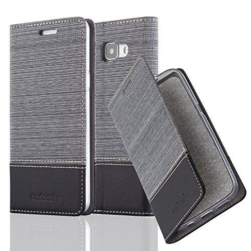 Cadorabo Hülle für Samsung Galaxy A5 2016 (6) - Hülle in GRAU SCHWARZ - Handyhülle mit Standfunktion & Kartenfach im Stoff Design - Case Cover Schutzhülle Etui Tasche Book