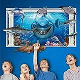 Wandsticker 3D Unterwasserwelt Wand-Aufkleber Wandtattoo Hai,Seehund, Schildkröte, Schwertfisch, Manta Ray Abnehmbare Wandsticker DIY Vinyl Wandtattoos für Wohnzimmer, Schlafzimmer, Badezimmer