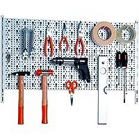 Element System Panel para herramientas de metal con juego de portaherramientas de 18 piezas incluyendo tornillos y tacos, panel perforado para guardar herramientas, blanco