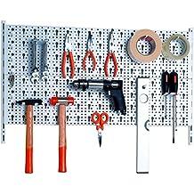 Element System Werkzeuglochwand aus Metall plus 18 teilig Werkzeughalterset inklusive Schrauben und Dübel, weiß, 11300-00000