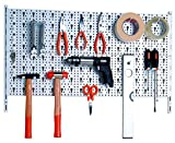 Element System Werkzeugwand aus Metall plus 28 teiliges Werkzeughalterset inklusive Schrauben und Dübel, Lochwand zur Werkzeugaufbewahrung weiß