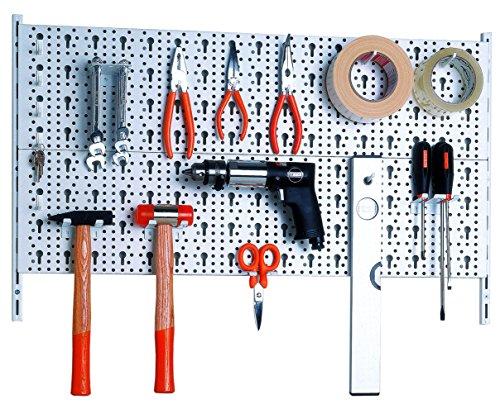 Element System Werkzeugwand aus Metall plus 18 teiliges Werkzeughalterset inklusive Schrauben und Dübel, Lochwand zur Werkzeugaufbewahrung weiß