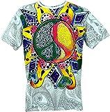 Guru-Shop Mirror T-Shirt, Herren, Peace Weiß/bunt, Baumwolle, Size:L, Bedrucktes Shirt Alternative Bekleidung
