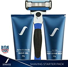 Spruce Shave Club 5X Starter Shaving Kit (Shaving Razor, Razor Blade, Shaving Gel, Aftershave Balm)