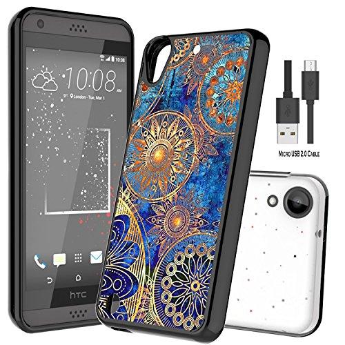 Wtiaw HTC Desire 530 Hülle,HTC Desire 630 Hülle,HTC Desire Hülle Mit Micro USB 2.0 Kabel, Acryl Hard Cover mit Gummi TPU Stoßstange Hybrid Ultra Slim Schutz für HTC D530U-YKL Schwarz