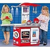 #0107 Spielküche 97x 100 cm in Rot mit Waschmaschine und Licht/Sound • Kinderküche Licht Sound Spielzeug Kinderspielküche Zubehör
