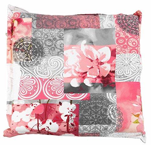 Hockerauflage Sitzpolster Gartenhockerauflage COREY 2 | 50 x 50 cm | Grau-Rosa | Baumwolle