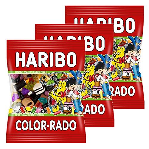Haribo Color-Rado, 3er Pack, Colorrado, Fruchtgummi, Weingummi, Gummibärchen, Lakritz, Lakritzmischung, Im Beutel, Tüte
