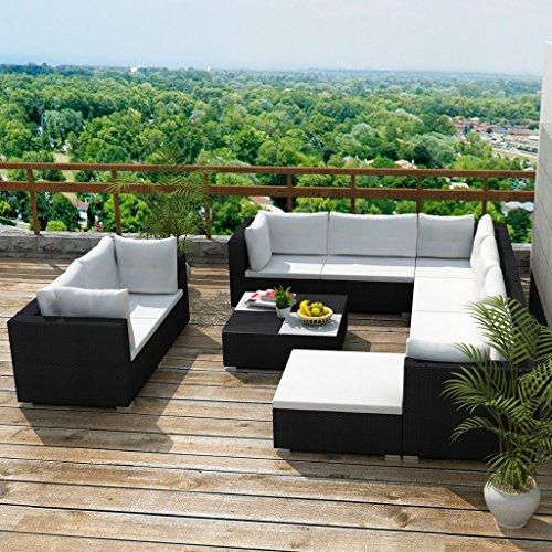 Festnight 32-tlg. Gartensofa Set mit 1 Teetisch Gartenlounge Garten Lounge-Set aus Polyrattan Loungegruppe Sitzgruppe für Terrasse Garten – Schwarz - 2
