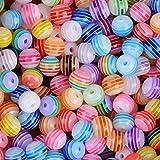 ca. 400 stück Mini Perlen set (Acryl oder Holz) Bastelperlen für Armbänder Acrylperlen zum basteln Holzperlen zum auffädeln Holzkugeln mit Loch Bunt Kugeln (Acryl, 6 x 6 mm)