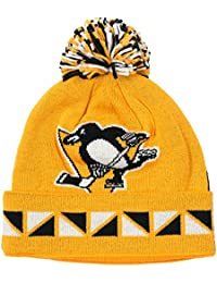 """Pittsburgh Penguins Mitchell & Ness NHL """"2 Face"""" Cuffed Knit Hat Chapeau w/ Pom"""
