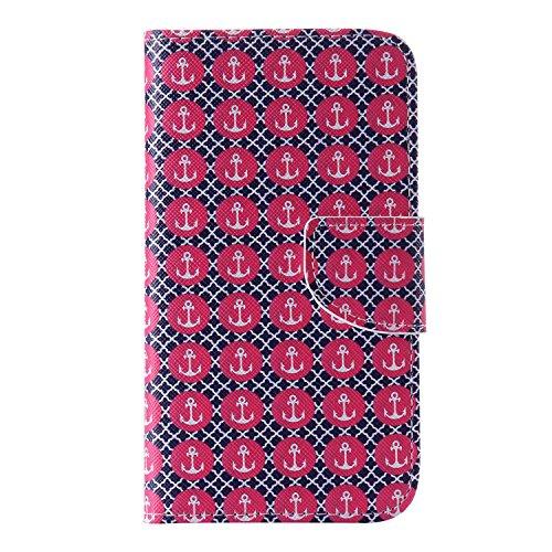 Guran® PU Leder Tasche für Apple iPhone 6 / 6S (4,7 Zoll) Smartphone Flip Deckung Stehen Funktion und Karte Slot Case-Anchors Ruder color15