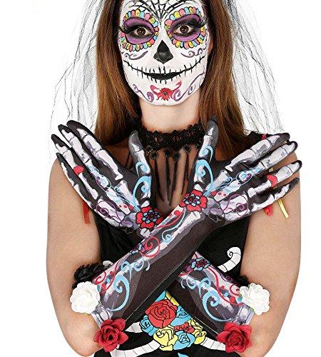 1 Paar HANDSCHUHE - DIA DE LOS MUERTOS (Mexiko Der Toten Tag Kostüme)