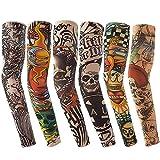 Vordas Mangas Tatuadas, 6PCS Tatuajes Temporales Brazo Medias Falso Tatuaje Temporal Mangas, Ideal para Fiestas de Disfraces