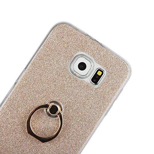 Luxus Bling Sparkle Style Case, Soft TPU [Silikon] Flexible Glitter Rückseitige Abdeckung mit Fingerring Stand für Samsung Galaxy S6 ( Color : Pink ) Pink