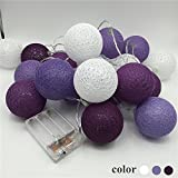 Morbuy Cotton Ball String Lights, Colourful Cotton Ball 30 LED String Lights 4.8m Battery Powered String Light Globe LED Lights Ball Size 6cm for Patio Christmas Garden Indoor Home Wedding Decoration (4.8M / 30 lights, Starry Purple Series)