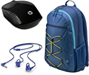 HP 15.6 Active Blue/Yellow BP+WM+HS HP 15.6 Active Blue/Yellow Backpack + HP 200 Black Wireless Mouse + HP In-Ear Headset 150