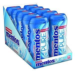 Mentos Kaugummi Pure Fresh Mint I 10 Pocketdosen Kaugummi-Dragees I Zuckerfrei mit Pfefferminze Geschmack und Extrakten aus grünem Tee