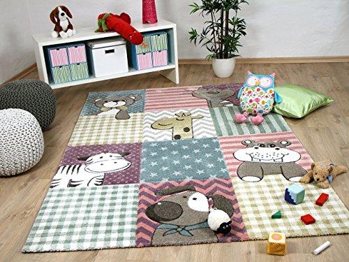 Maui Kids - Tapis pour enfant - motif animaux bébé rose multicolore - 5 tailles disponibles