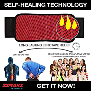 Ziraki Adjustable Lumbar Lower Back Support Massage Brace ★ Self-heating Magnetic Therapy Belt ★ Relieve Pain And Stress ★ FDA Approved