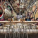 Kuamai Papier Peint Personnalisé 3D Space Street Graffiti Barre Hip-Hop Ktv Toile De Fond Peinture Murale Art Papier Peint-208X146Cm