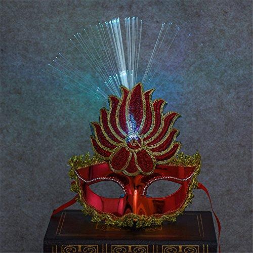 Halloween Urlaub Cosplay Maske lackiert Flammen Leistung Maske mit LED-Licht Kinder Festival für Bar Party Masquerade Abend Prom Mardi Gras (Mardi Gras Hund Kostüme)