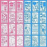 Zeichenschablonen Bullet Journal Schablone Zubehör,24 Stück Kunststoff Zeichnung Skala Malen Multifunktionale Zeichnung Lineal für Tagebuch,Scrapbooking, Karten und DIY Craft Projekte