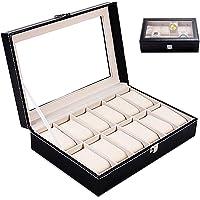 Boîte à montres,Coffret à Montres,Rangement pour montres avec 12 Compartiments Montres Boîte,Boîte à Montre Couvercle…