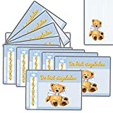Einladungskarten zum Kindergeburtstag Motiv Set Teddy 10 x + Umschlag für Jungen Jungs Buben blau tiere einschulung schulanfang 1 2 3 emoji