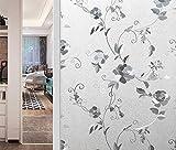 Ommda Fensterfolie Statisch Haftend Anti UV Sichtschutzfolie Fensterfolie Blume Blickdicht Badezimmer DIY 120x200cm
