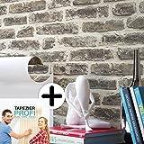 Steintapete Vliestapete Grau Anthrazit , schöne edle Tapete im Steinmauer Design , moderne 3D Optik für Wohnzimmer, Schlafzimmer oder Küche inkl. Newroom Tapezier Profibroschüre
