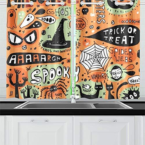 JIUCHUAN Halloween Doodle Elements Küchenvorhänge Fenster Vorhangebenen für Café, Bad, Wäscherei, Wohnzimmer Schlafzimmer 26 X 39 Zoll 2 Stück