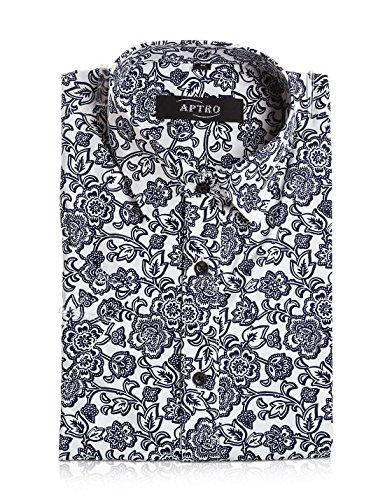 APTRO Hemd Herren Kurzarm Freizeit Hemd Baumwolle Mehrfarbig Blumen Shirt Sommer APT023