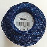 Fil pour crochet avec paillettes Gründl, pelote 25g, fil brillant 05 blau