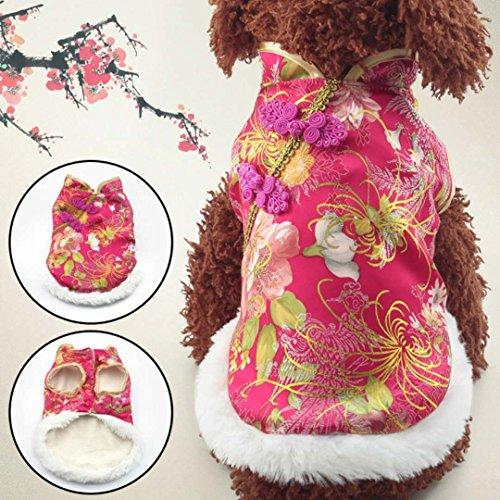 g Suit Kostüm Haustier kleinen Hund siamesische Jacke Hallowmas Weihnachten Chinese New Year festliche Winter warme Mantel 5 Größe ( Color : Rose Red , Size : L ) (Chinese New Year Dekoration Zubehör)