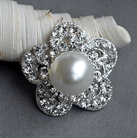 5 Large Rhinestone Button Embellishment Pearl Crystal Wedding Brooch Bouquet Invitation Cake Decoration Hair Comb Clip