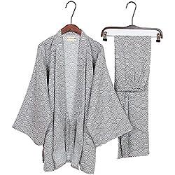 Fancy Pumpkin Trajes de estilo japonés de los hombres Traje de vestido de pijama de kimono Conjunto [Tamaño de patrón de onda gris L]