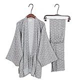 Fancy Pumpkin Herren-Kimono-Pyjamas im japanischen Stil Roben Kimono-Anzugs-Set [graues Wellenmuster Größe L]