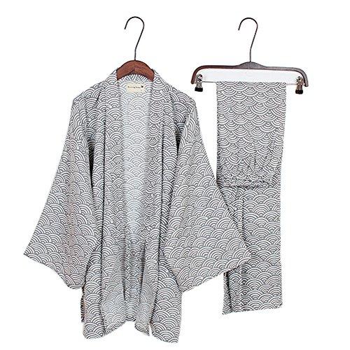 Fancy Pumpkin Herren-Kimono-Pyjamas im japanischen Stil Roben Kimono-Anzugs-Set [graues Wellenmuster Größe L] -